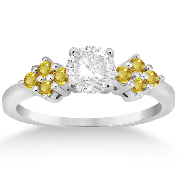 Designer Yellow Sapphire Floral Engagement Ring 14k White Gold 0.35ct