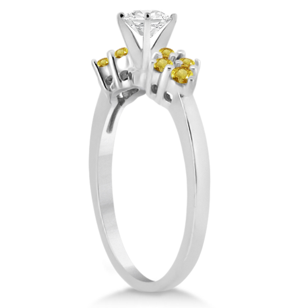 Yellow Sapphire Engagement Ring & Wedding Band 18k White Gold (0.50ct)