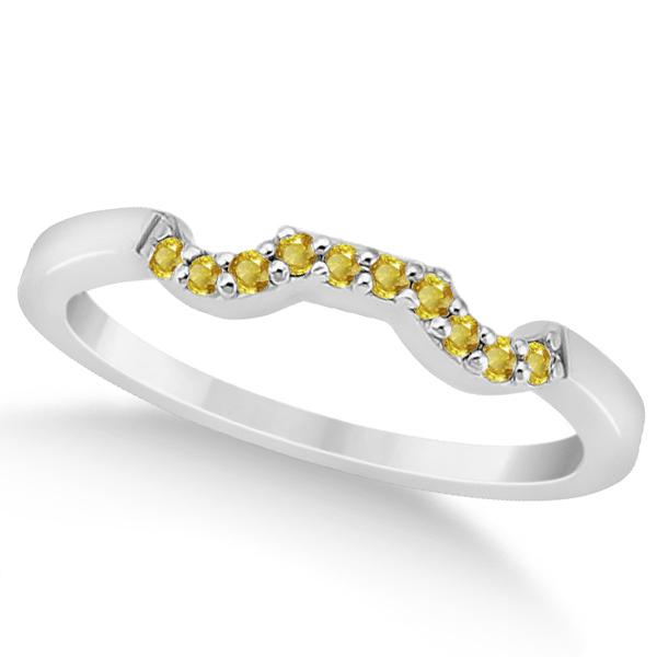 Pave Set Yellow Sapphire Contour Wedding Band 18k White Gold (0.15ct)