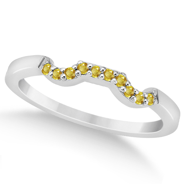 Pave Set Yellow Sapphire Contour Wedding Band in Platinum (0.15ct)