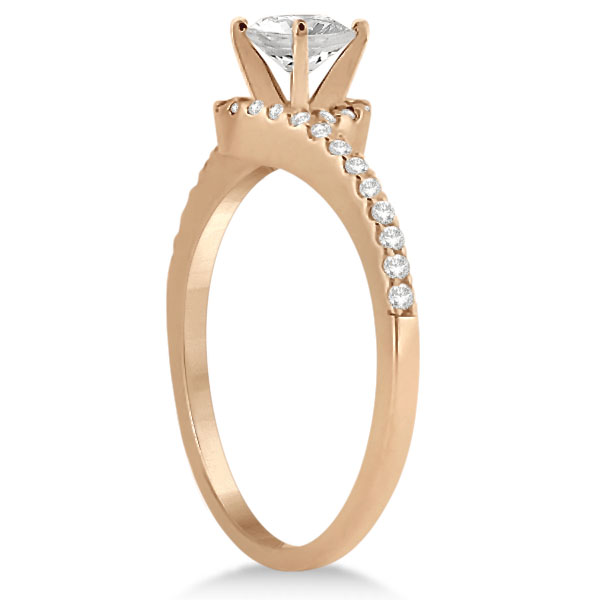 Halo Diamond Twist Engagement Ring Setting 14k Rose Gold (0.16ct)