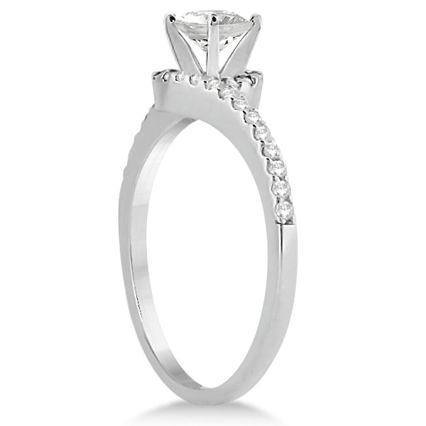 Halo Diamond Twist Engagement Ring Setting 14k White Gold (0.16ct)