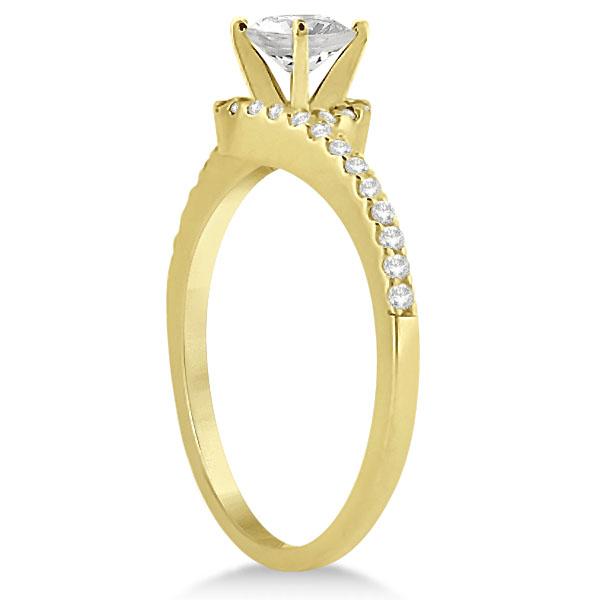 Halo Diamond Twist Engagement Ring Setting 14k Yellow Gold (0.16ct)