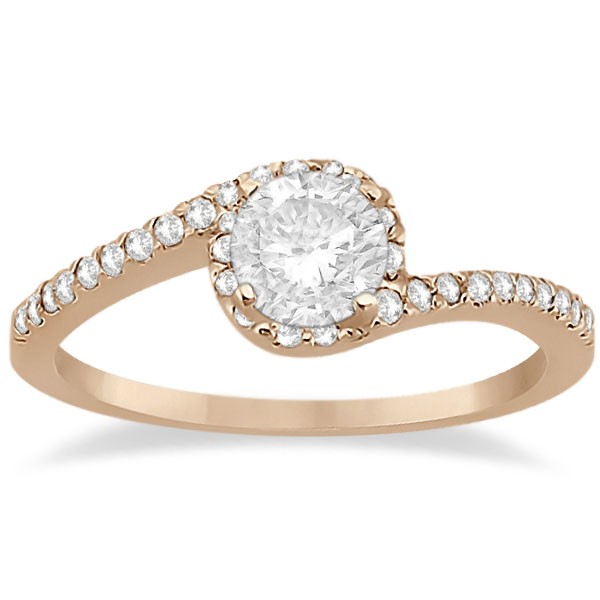 Halo Diamond Twist Engagement Ring Setting 18k Rose Gold (0.16ct)