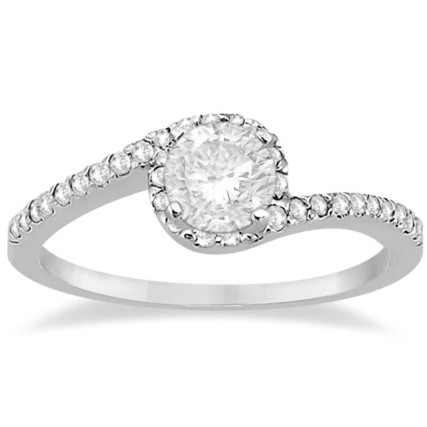 Halo Twist Diamond Bridal Set Ring & Band 14k White Gold 0 28ct
