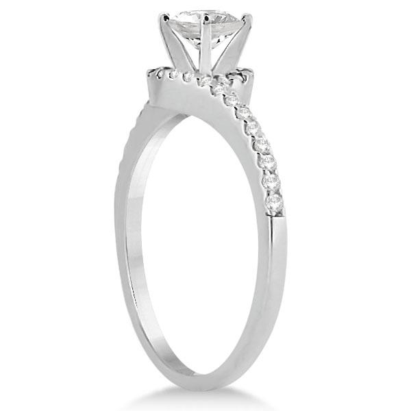 Halo Twist Diamond Bridal Set Ring & Band 14k White Gold (0.28ct)