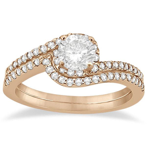Halo Twist Diamond Bridal Set Ring & Band 18k Rose Gold (0.28ct)