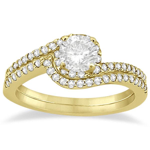 Halo Twist Diamond Bridal Set Ring & Band 18k Yellow Gold (0.28ct)