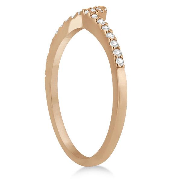Petite Contour Diamond Wedding Band Swirl Ring 14k Rose Gold (0.12ct)