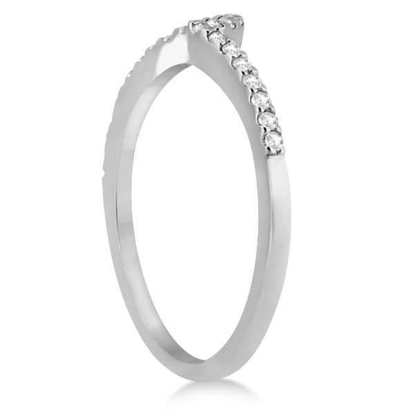 Petite Contour Diamond Wedding Band Swirl Ring 14k White Gold (0.12ct)