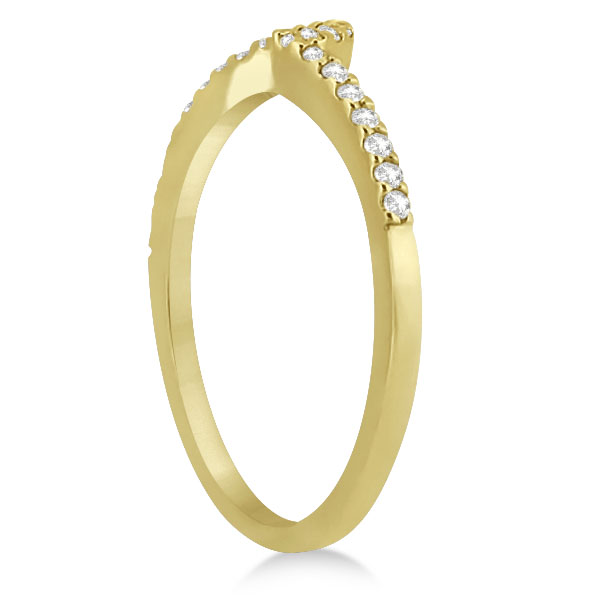 Petite Contour Diamond Wedding Band Swirl Ring 14k Yellow Gold (0.12ct)