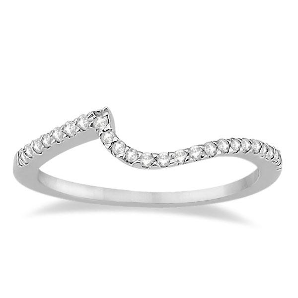 Petite Contour Diamond Wedding Band Swirl Ring 18k White Gold (0.12ct)