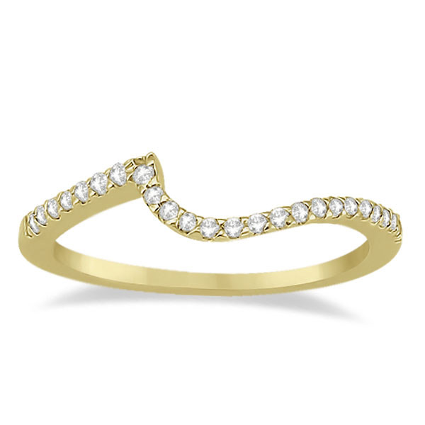 Petite Contour Diamond Wedding Band Swirl Ring 18k Yellow Gold (0.12ct)