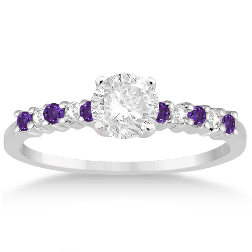 petite diamond amethyst engagement ring 14k white gold 015ct - Amethyst Wedding Rings