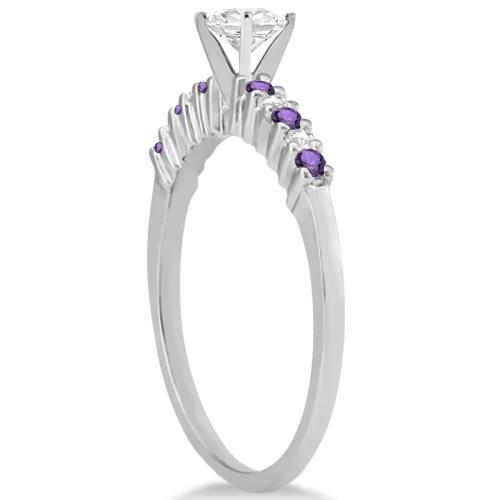 Petite Diamond & Amethyst Engagement Ring Palladium (0.15ct)