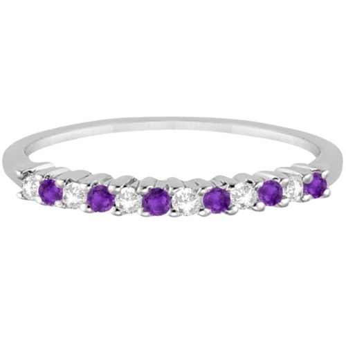 Petite Diamond & Amethyst Wedding Band Palladium (0.20ct)