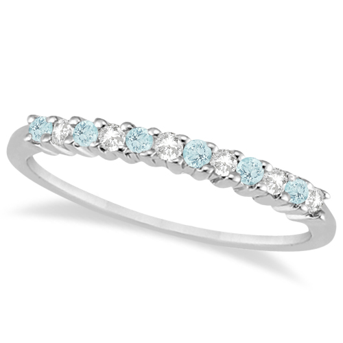 Petite Diamond & Aquamarine Wedding Band 14k White Gold (0.20ct)