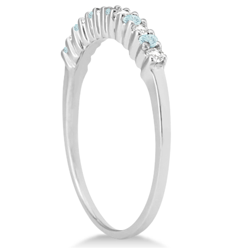 Petite Diamond & Aquamarine Wedding Band 14k White Gold (0.20ct)