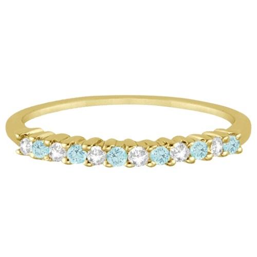 Petite Diamond & Aquamarine Wedding Band 18k Yellow Gold (0.20ct)
