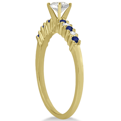 Petite Diamond & Sapphire Engagement Ring 14k Yellow Gold (0.15ct)