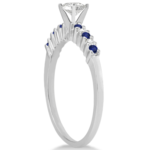 Petite Diamond & Sapphire Engagement Ring 18k White Gold (0.15ct)