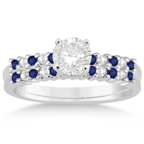 Petite Diamond & Sapphire Bridal Set 14k White Gold (0.35ct)