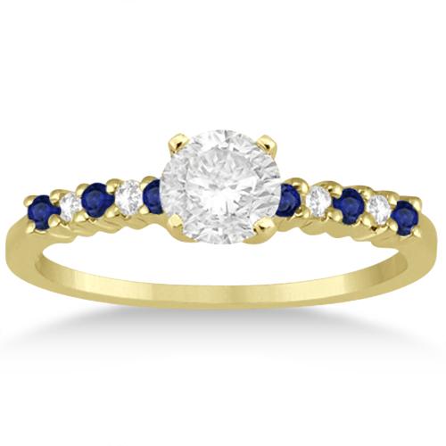 Petite Diamond & Sapphire Bridal Set 14k Yellow Gold (0.35ct)