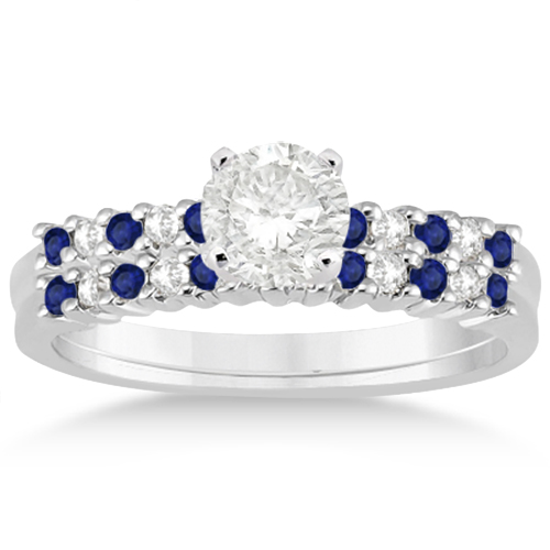 Petite Diamond & Sapphire Bridal Set 18k White Gold (0.35ct)