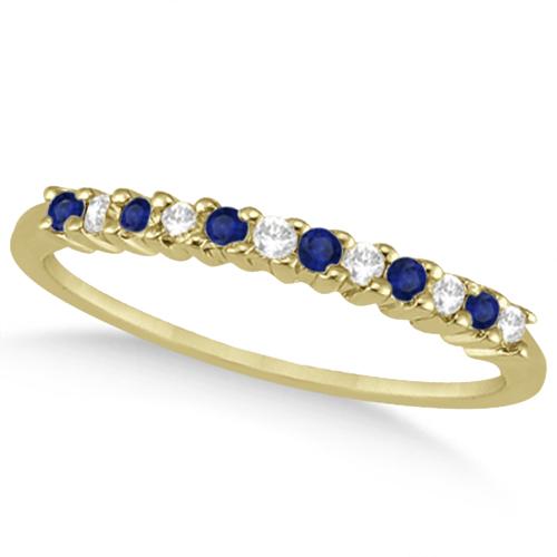 Petite Diamond & Sapphire Wedding Band 14k Yellow Gold (0.20ct)