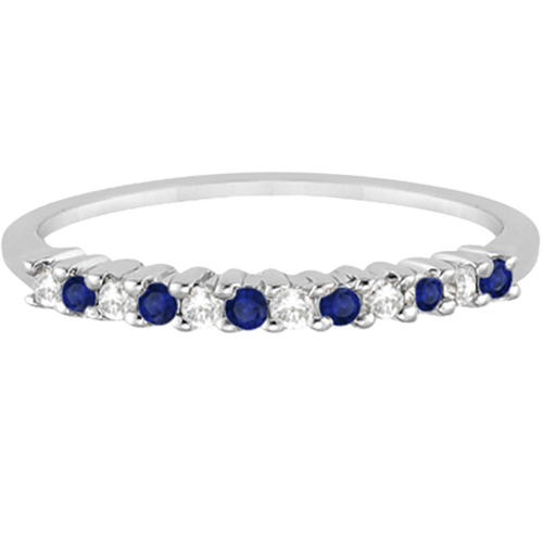 Petite Diamond & Sapphire Wedding Band Palladium (0.20ct)