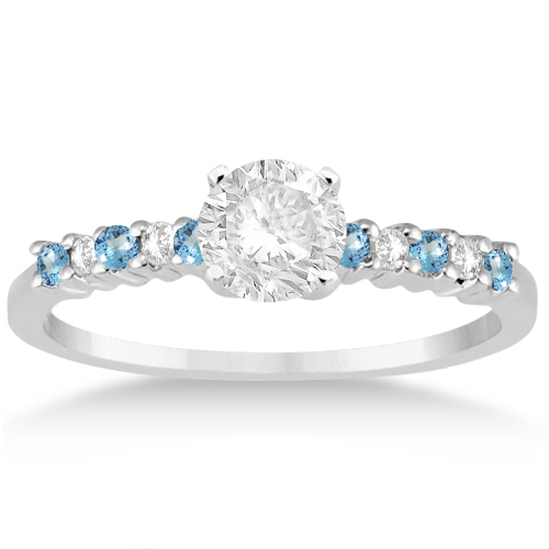 Petite Diamond & Blue Topaz Engagement Ring 14k White Gold (0.15ct)