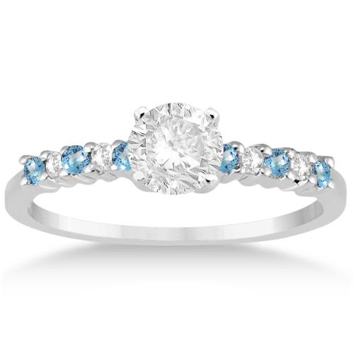 Petite Diamond & Blue Topaz Bridal Set Palladium (0.35ct)