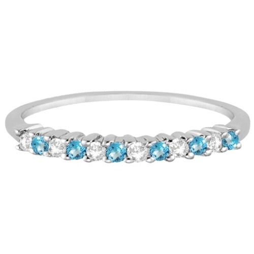 Petite Diamond & Blue Topaz Wedding Band Palladium (0.20ct)