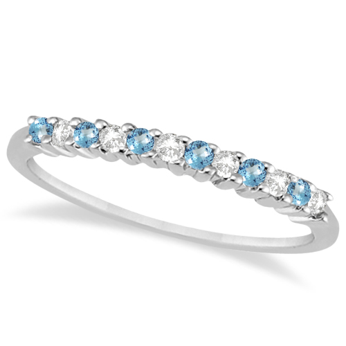 Petite Diamond & Blue Topaz Wedding Band Platinum (0.20ct)