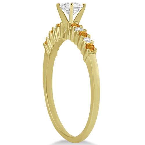 Petite Diamond & Citrine Engagement Ring 14k Yellow Gold (0.15ct)