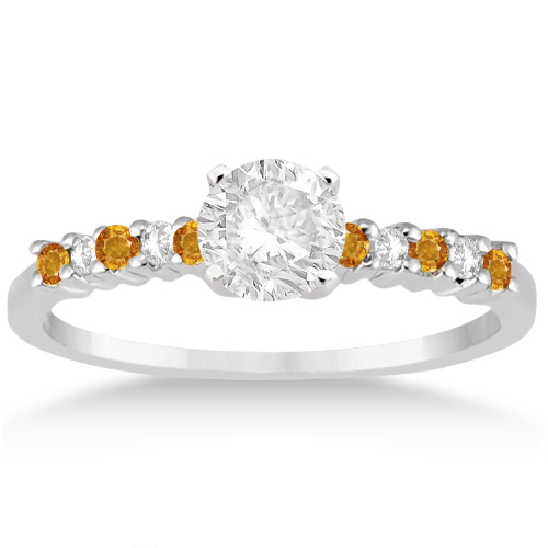 Petite Diamond & Citrine Engagement Ring Platinum (0.15ct)