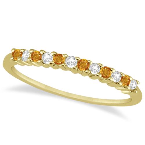 Petite Diamond & Citrine Wedding Band 18k Yellow Gold (0.20ct)