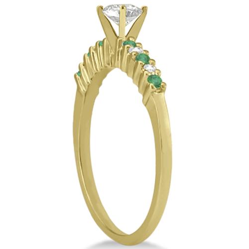 Petite Diamond & Emerald Engagement Ring 14k Yellow Gold (0.15ct)