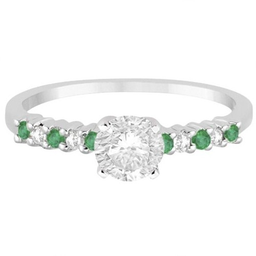 Petite Diamond & Emerald Engagement Ring 18k White Gold (0.15ct)