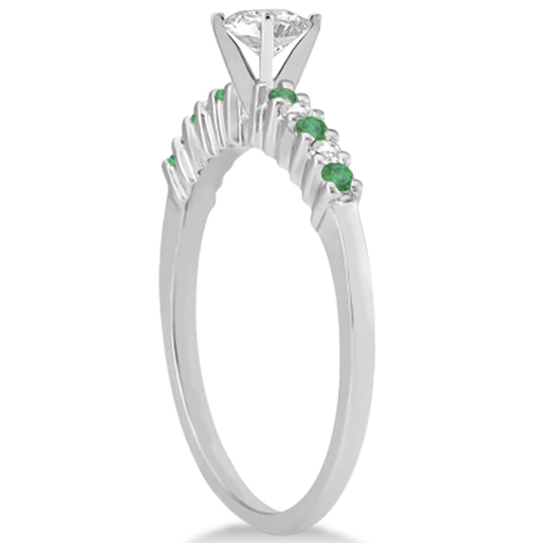 Petite Diamond & Emerald Engagement Ring Palladium (0.15ct)