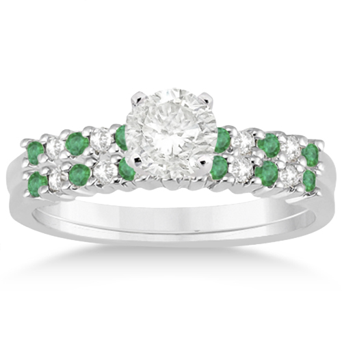 Petite Diamond & Emerald Bridal Set 14k White Gold (0.35ct)