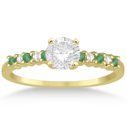 Petite Diamond & Emerald Bridal Set 18k Yellow Gold (0.35ct)