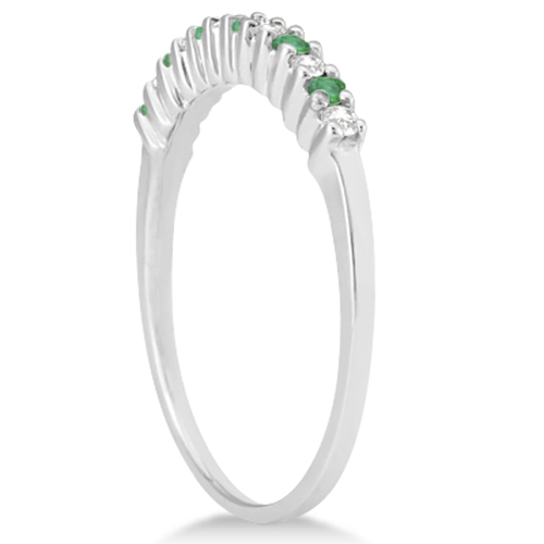Petite Diamond & Emerald Wedding Band 14k White Gold (0.20ct)