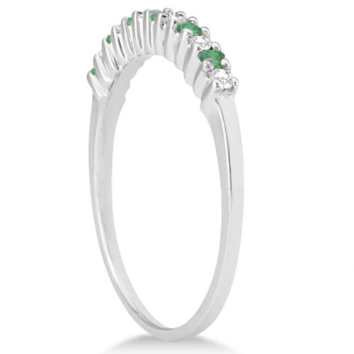 Petite Diamond & Emerald Wedding Band Palladium (0.20ct)