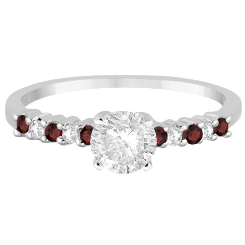 Petite Diamond & Garnet Engagement Ring 14k White Gold (0.15ct)