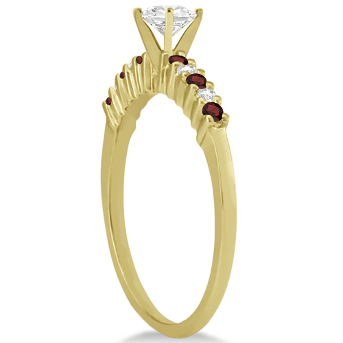 Petite Diamond & Garnet Engagement Ring 14k Yellow Gold (0.15ct)