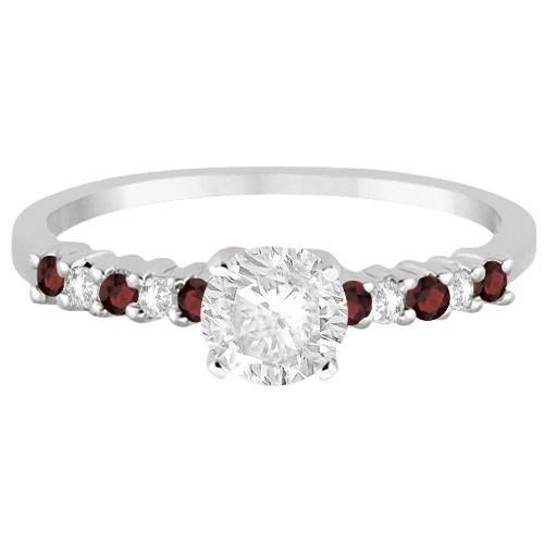 Petite Diamond & Garnet Engagement Ring 18k White Gold (0.15ct)