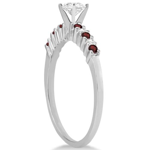 Petite Diamond & Garnet Bridal Set 14k White Gold (0.35ct)
