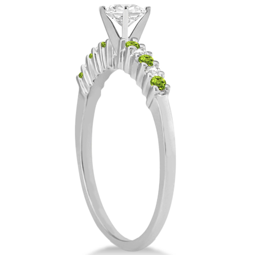 Petite Diamond & Peridot Engagement Ring 14k White Gold (0.15ct)