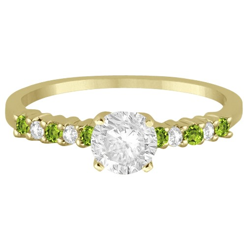 Petite Diamond & Peridot Engagement Ring 14k Yellow Gold (0.15ct)